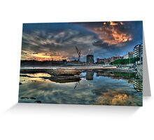 Newcastle Sunset HDR Greeting Card