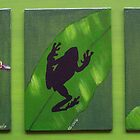 Green Tree Frogs in three poses by Sooty6
