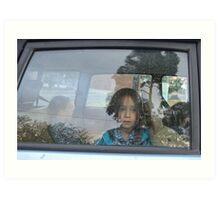 Face in a car window Art Print