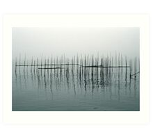 Fishing Weirs in the Morning Fog Art Print