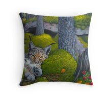 Lynx in the sun Throw Pillow