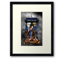 Mysterious Time traveller with blue Phone box Framed Print