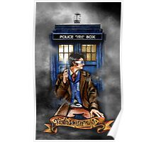 Mysterious Time traveller with blue Phone box Poster