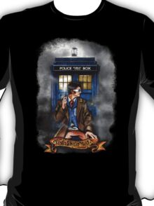 Mysterious Time traveller with blue Phone box T-Shirt