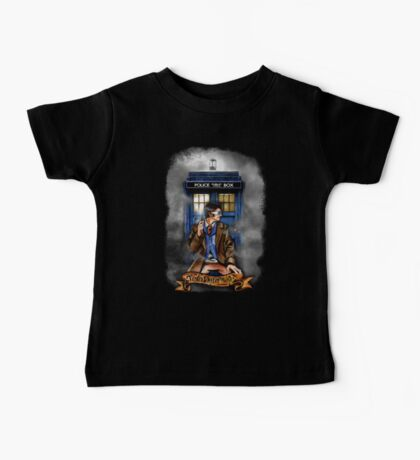 Mysterious Time traveller with blue Phone box Baby Tee