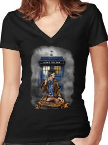 Mysterious Time traveller with blue Phone box Women's Fitted V-Neck T-Shirt