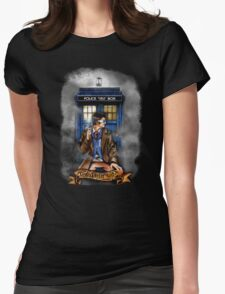 Mysterious Time traveller with blue Phone box Womens Fitted T-Shirt