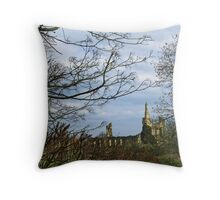 Byland Abbey from the Oldstead Road Throw Pillow