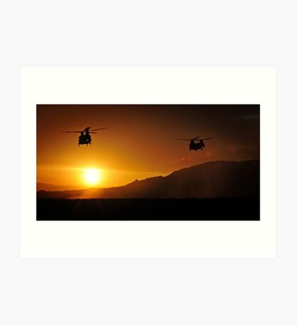 Chinook Helicopters lifting off as the sun sets / Military Print Photo Art Print