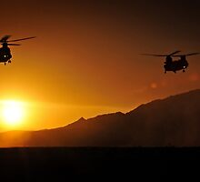 Chinook Helicopters lifting off as the sun sets / Military Print Photo by verypeculiar