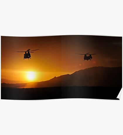 Chinook Helicopters lifting off as the sun sets / Military Print Photo Poster