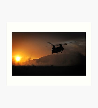 Chinook Helicopter lifting off as the sun sets - Military Art / Army / Air Force  Art Print