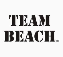 TEAM BEACH Basic Tees, Tanks, & Hoodies (Black Text) by TEAMBEACHbasics
