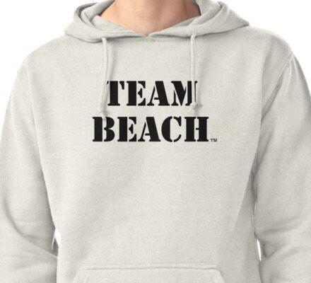 TEAM BEACH Basic Tees, Tanks, & Hoodies (Black Text) Pullover Hoodie