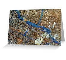 A vein of boulder opal in the host rock. Greeting Card