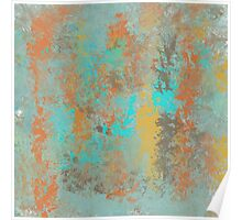 Abstract Design in Gold, Aqua, Brown and Copper Poster