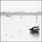 Boats in mist Langstone Harbour by Nigel Kenny
