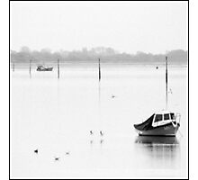 Boats in mist Langstone Harbour Photographic Print