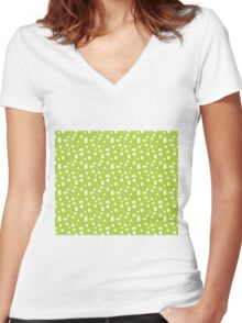 Rectangle Pattern Women's Fitted V-Neck T-Shirt