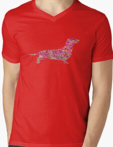 Pyschedelic Sausage Dog Mens V-Neck T-Shirt