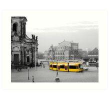 Modern yellow tram at a historical location  Art Print