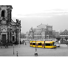 Modern yellow tram at a historical location  Photographic Print