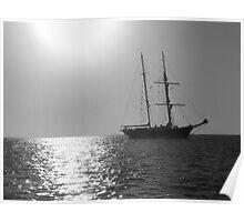 Tall Ship at Anchor Poster