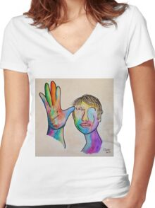 American Sign Language FATHER Women's Fitted V-Neck T-Shirt