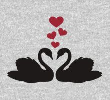 Swans red hearts love Kids Clothes