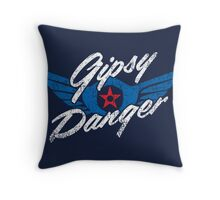 Gipsy Danger Distressed Logo in White Throw Pillow