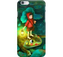 The little girl in the pond with frog iPhone Case/Skin