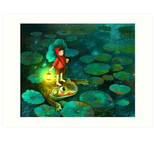 The little girl in the pond with frog Art Print