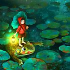 The little girl in the pond with frog by skycn520