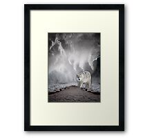 Wolf in the Middle of a Storm Framed Print