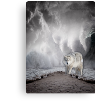 Wolf in the Middle of a Storm Canvas Print