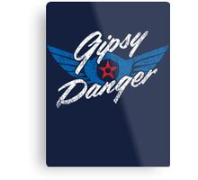 Gipsy Danger Distressed Logo in White Metal Print