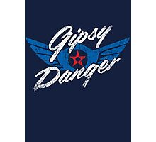 Gipsy Danger Distressed Logo in White Photographic Print