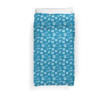 Nautical Beach Aqua White Shells Duvet Cover