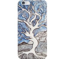 Tree – In Black, White, and Blue Ink iPhone Case/Skin