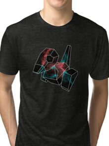 Cosmic Porygon with white outline Tri-blend T-Shirt