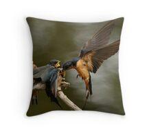 Swallows Feeding Throw Pillow