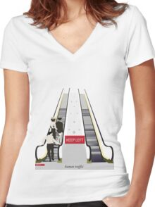 Human Traffic Women's Fitted V-Neck T-Shirt