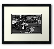 Dog on a motorcycle Framed Print