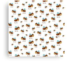 seamless pattern with flying bees on the white background Canvas Print