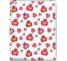 Seamless pattern with gifts, hearts on the white background iPad Case/Skin