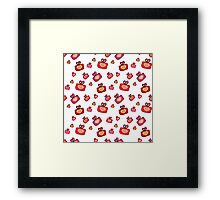 Seamless pattern with gifts, hearts on the white background Framed Print