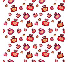 Seamless pattern with gifts, hearts on the white background Photographic Print