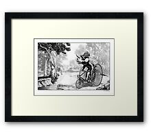 Triceratops on a Tricycle Framed Print