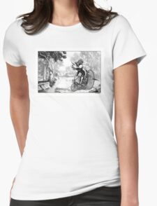 Triceratops on a Tricycle Womens Fitted T-Shirt