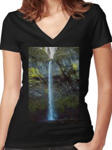 Falling Blue Women's Fitted V-Neck T-Shirt